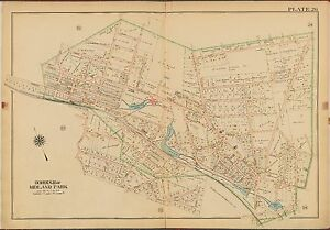 1913 FRANKLIN LAKE OAKLAND BERGEN COUNTY NEW JERSEY MIDLAND PARK ATLAS MAP
