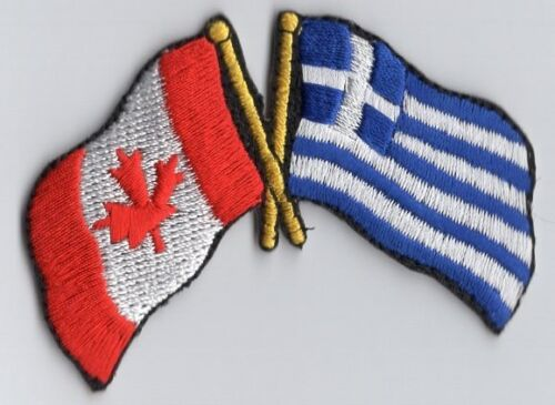 Canada Greece Flag Patch Embroidered Iron On Applique Canadian Greek