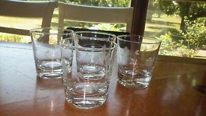 Etched Juice glasses 4 8 oz vintage flat bottom glasses excellent condition