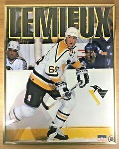 Vintage-1992-Mario-Lemieux-Pittsburgh-Penguins-Poster-Original-Frame-16x20-NHL