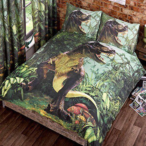 T Rex Double Quilt Duvet Cover Bed Set 2 Pcases Dinosaur Bedding Dino Jurassic