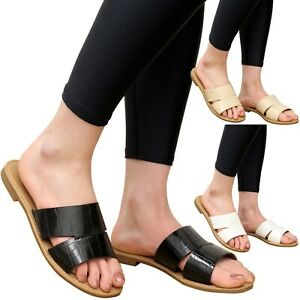 Womens Diamante Summer Sliders Ladies Open Toe Mules Casual Holiday Sandals Size