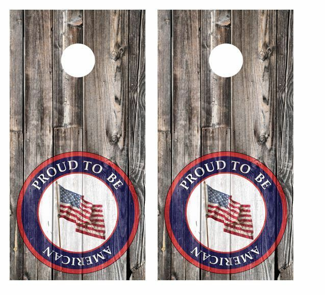 Proud  To Be American Patch Barnwood Cornhole Board Wraps  FREE LAMINATE  check out the cheapest