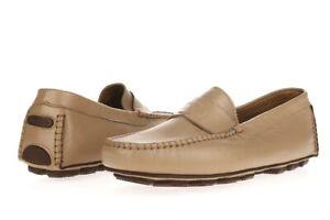 Mens-ALDO-BRUE-Tan-Beige-Leather-Loafer-Driving-Moccasins-Flat-Shoes-Size-8-5