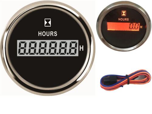 1pc 52mm Digital Hourmeter 0-99999.9H Clock Gauge 9-32v Hour Meter for Auto Boat