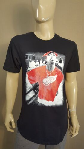 2PAC Red Wing Black Cotton Heritage Drop Tail  T-shirt NWA  LA Tee Tupac Shakur