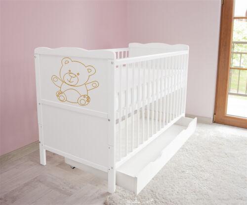 Matratze ms Schublade Juniorbett 120x60 Weiß  3x1 Babybett Kinderbett