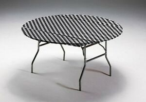 12 Black Amp White Check 60 Quot Round Fitted Plastic Table