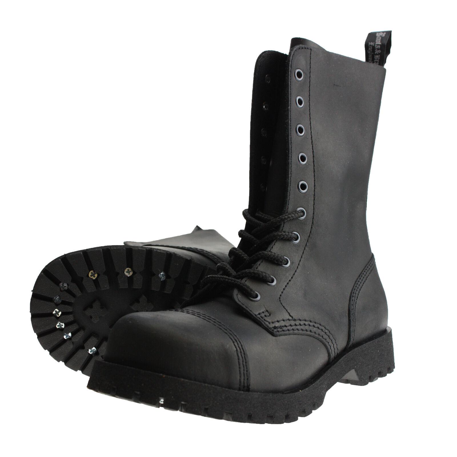 Boots and Braces 10-Loch Crazy Horse Nubukleder Matt black Stiefel Stahlkappe