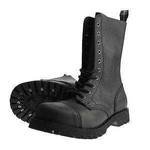 Boots-and-Braces-10-Loch-Crazy-Horse-Nubukleder-Matt-Schwarz-Stiefel-Stahlkappe