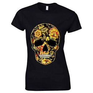 217978243 Details about Flower Skull Candy Day Of The Dead Mexico Sugar Skull Gothic  Womens T Shirt #1