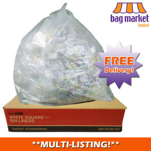 """White HDPE Square Bin Liners! 