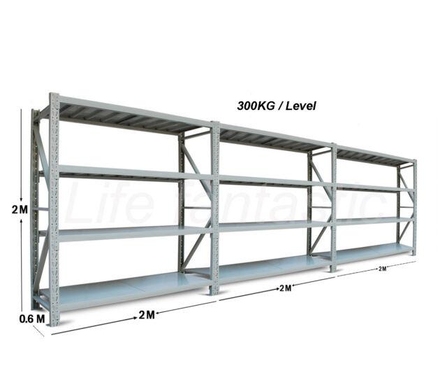6M X 2M X 0.6M 3600KG Garage Warehouse Steel Storage Shelving Shelves Racking