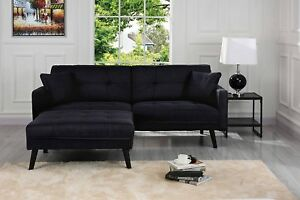 Details about Black Mid-Century Fabric Futon Sofa Bed, Living Room Sleeper  Couch with Pillows
