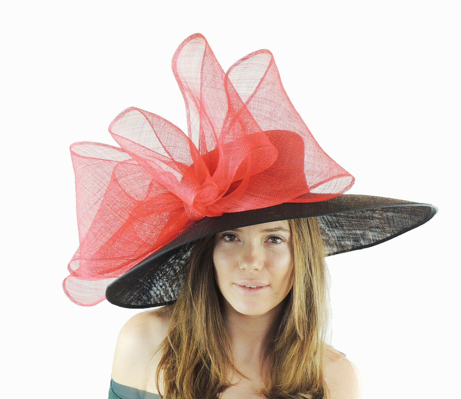 Black Red Large Ascot Hat for Weddings, Ascot, Derby in many colors HM3