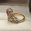 1-50Ct-Heart-Cut-Pink-Sapphire-Crown-Queen-Engagement-Ring-14K-Yellow-Gold-Over thumbnail 3