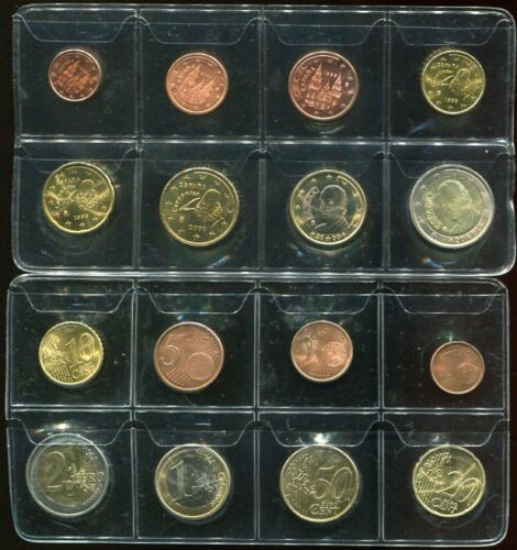 SPAIN SET 8 COIN 1 2 5 10 20 50 CENT 1 2 EURO 1999-2001 AUNC SEE SCAN