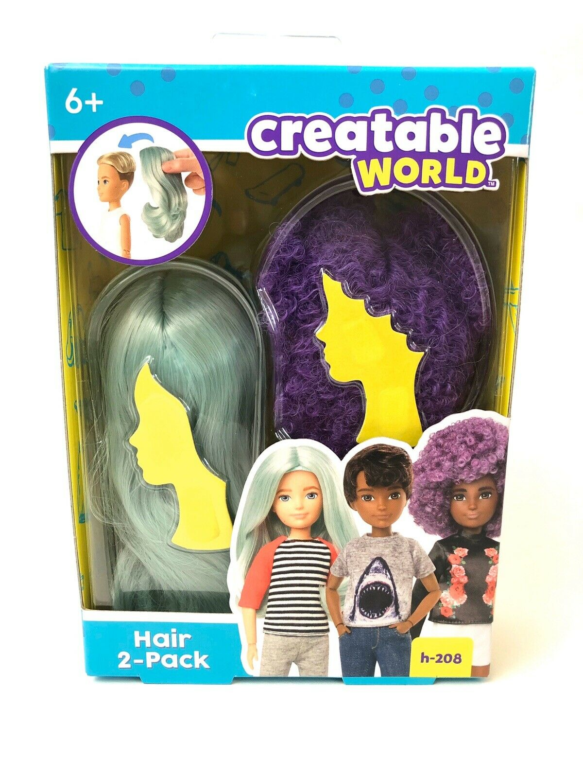 Creatable World Hair 2-Pack H-208 Purple and Light Blue Wigs