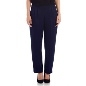 St-John-Basics-Santana-Knit-Pants-Size-8-Trouser-Navy-Elastic-Waist-High-Rise