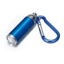 Mini Convex Aluminium LED Flashlight Blue Torch Pocket KeyRing Clip Hook