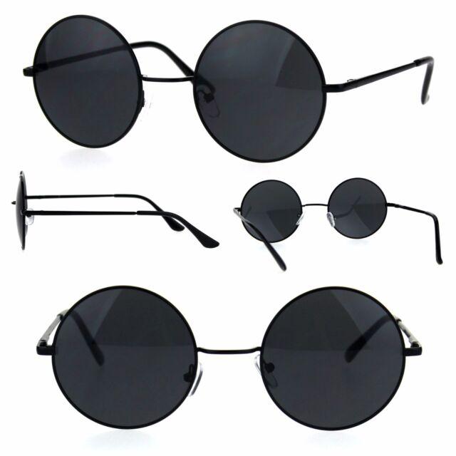 a48ec2c8ddae Mens All Black Round Circle Lens Hippie Groovy Metal Rim Sunglasses ...