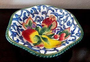 "Beautiful Fitz & Floyd Florentine Fruit 12"" Centerpiece Bowl Embossed Fruit"