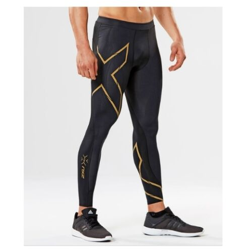 NEW 2XU Mens Elite MCS Compression Running Tights BLACK GOLD REFLECTIVE