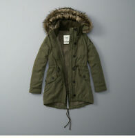 "Womens Abercrombie & Fitch Fleece Fur Sherpa Parka Hoodie Jacket Size L 38""-39"""
