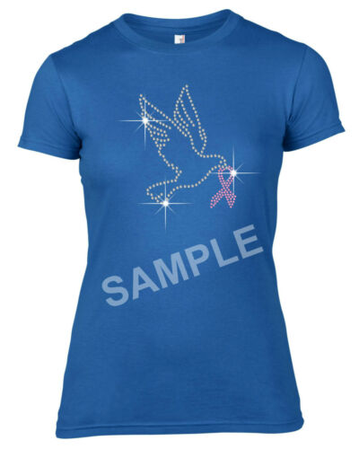 Dove with pink ribbon Rhinestone Transfer Hotfix Iron on Motif with a Free Gift