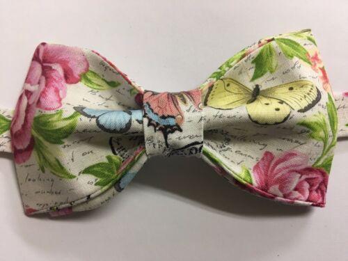 Handmade Custom Novelty Bow tie Roses Script Pre Tied Adjustable Butterfly