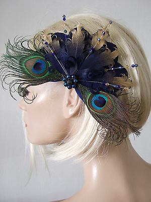 Bridal Ivory Gold Nagoire Peacock Feathers Crystal Brooch Fascinator MNB116