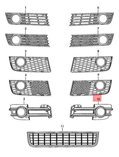Genuine Satin black air guide grille AUDI A4 Wagon S4 8E 8E0807681B01C