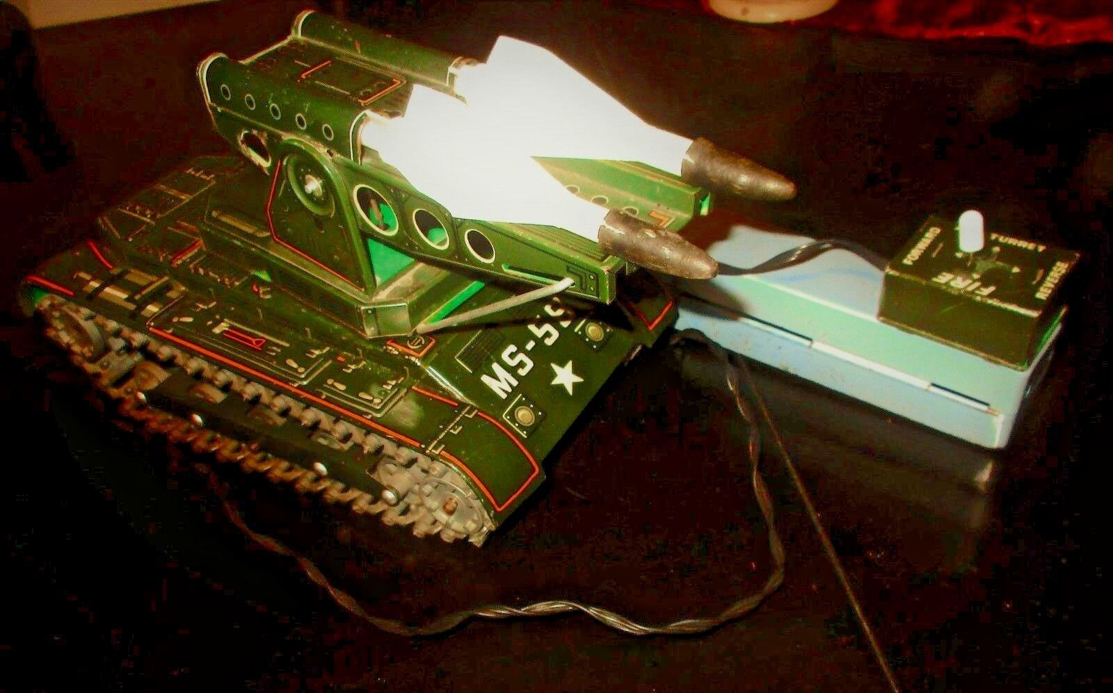 AMAZING VINTAGE RARE MASUDAYA MS-58 MISSILE TANK TIN B O R C JAPAN TOY FROM 60s