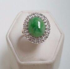 Vintage 14k Yellow Gold Jade Diamond Ring