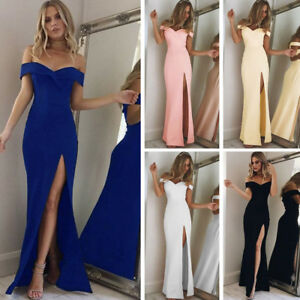 Women-Off-Shoulder-Bandage-Formal-Ball-Gown-Evening-Party-Bridesmaids-Maxi-Dress