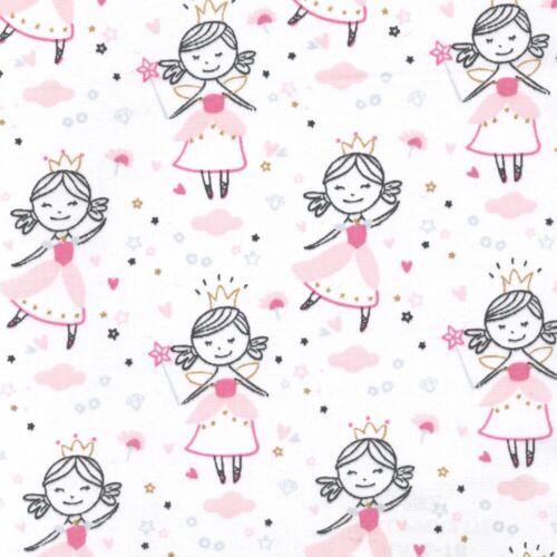 100/% Cotton Fabric Girls Pink Quilting Dressmaking White Princess Kate