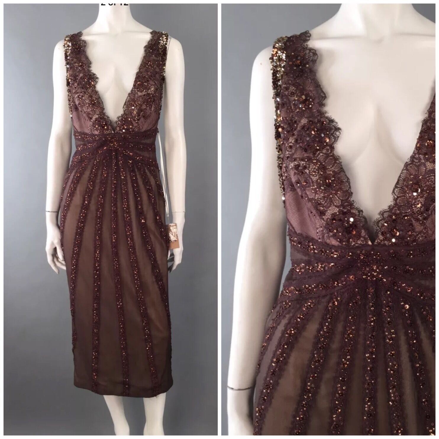 Mandalay NWT  1500   10   Brown Beaded Gown Sequined Swarovski Crystals Dress