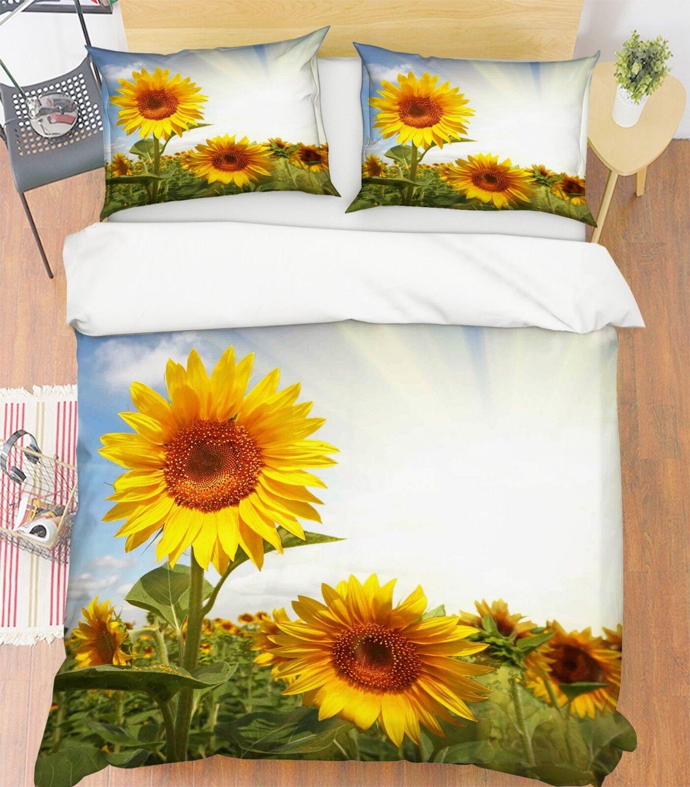 3D SonnenBlaumen 234 Bett Kissenbezüge steppen Duvet Decken Set Single Königin DE