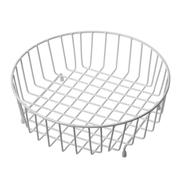 Reginox White Round Wire Kitchen Sink Draining Storage Drainer Basket R1090