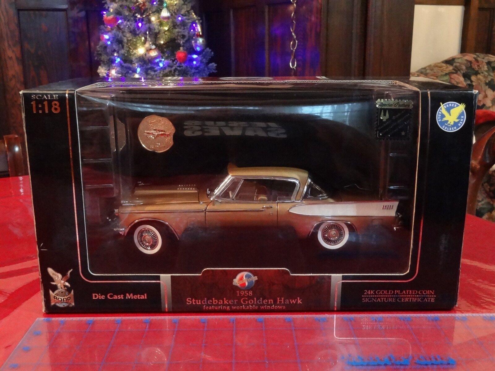 1958 Studebaker oroen Hawk Yat Ming firma Road 1 18 escala con moneda de oro