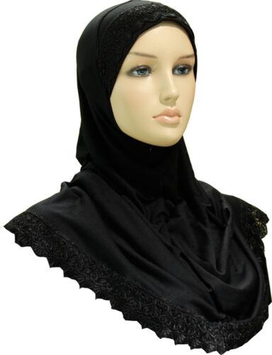 New Girls Kids Beautiful One Piece Plain Muslim Islamic Lace Hijab Scarf Stole