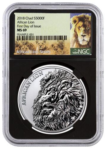 2018 Republic Chad African Lion 1 oz Silver 5,000F NGC MS69 FDI Black SKU51650