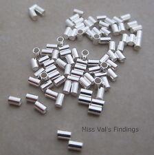 100 3mm x 2mm sterling silver crimp bead tube 1mm inner diameter