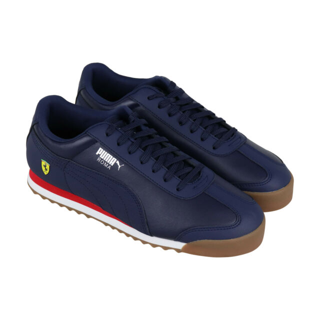 new style 4ae80 ff009 Puma Scuderia Ferrari Roma Mens Blue Leather Low Top Lace Up Sneakers Shoes