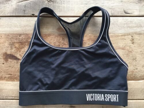 VICTORIA/'S SECRET SPORT BLACK WHITE TRIM THE PLAYER WIRELESS SPORT BRA NEW VS