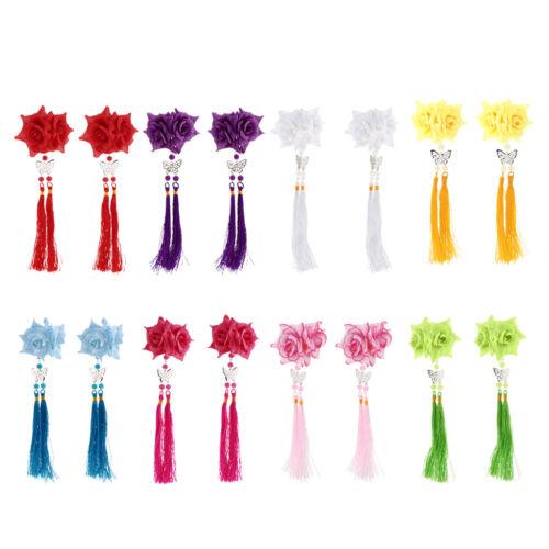 2pcs Handmade Fleur épingle à cheveux long glands Pince à Cheveux Coiffure pour kimono HANFU
