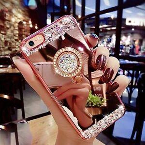 Bling-Miroir-Coque-Housse-Cas-Anneau-Stand-Souple-Pour-iphone-Samsung-S8-S9-Plus