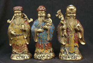 10-034-Old-Chinese-Cloisonne-Enamel-Bronze-Fukurokuju-Three-Lucky-Men-Figure-Statue