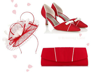 c88e4962a8cdb Image is loading Jacques-Vert-Scarlet-Shoes-Bag-amp-Fascinator-Matching-