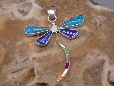 Charm Necklace turquoise and DragonflyArtisan handmade BohoChic Southwestern  Stering silver
